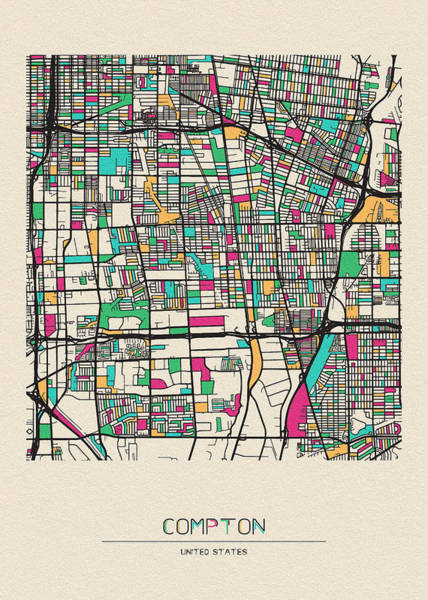 Wall Art - Drawing - Compton, California City Map by Inspirowl Design