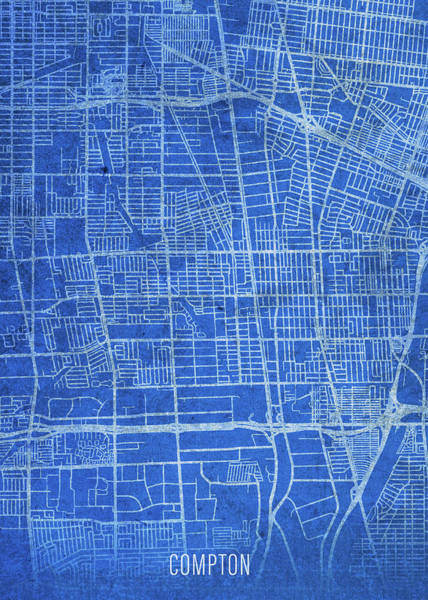 Wall Art - Mixed Media - Compton California City Street Map Blueprints by Design Turnpike