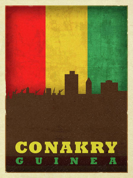 Wall Art - Mixed Media - Conakry Guinea World City Flag Skyline by Design Turnpike