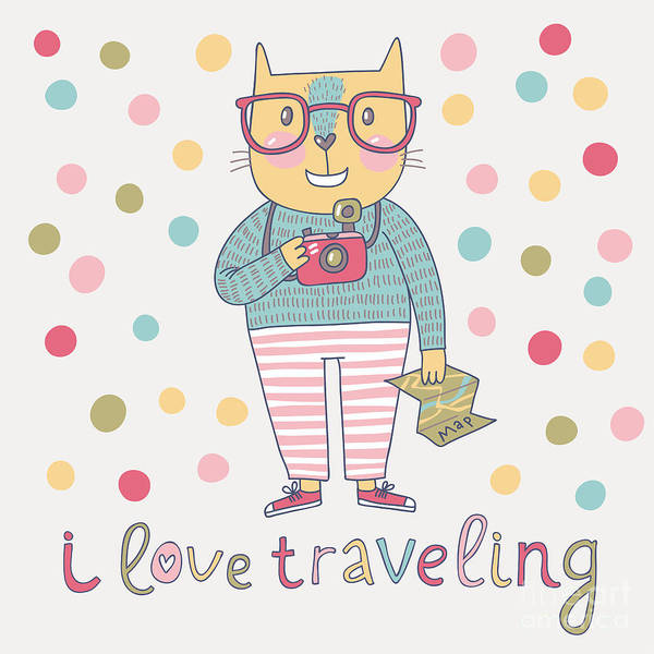 Wall Art - Digital Art - Concept Cat Hipster In Cartoon Funny by Smilewithjul