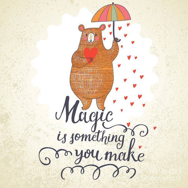 Wall Art - Digital Art - Concept Romantic Card With Cute Bear by Smilewithjul