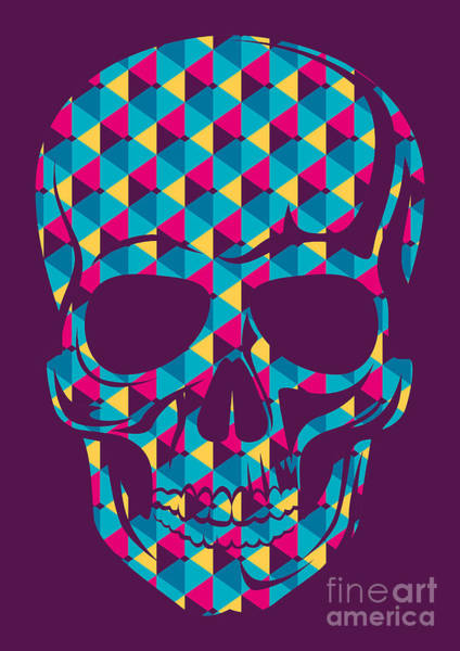 Stylized Wall Art - Digital Art - Conceptual Human Skull. Vector by Radoman Durkovic