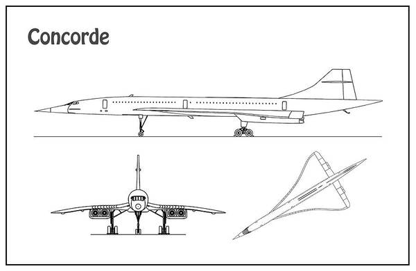 Vintage Airplane Drawing - Concorde - Airplane Blueprint. Drawing Plans For The Concorde Supersonic Jet Airliner by JESP Art and Decor