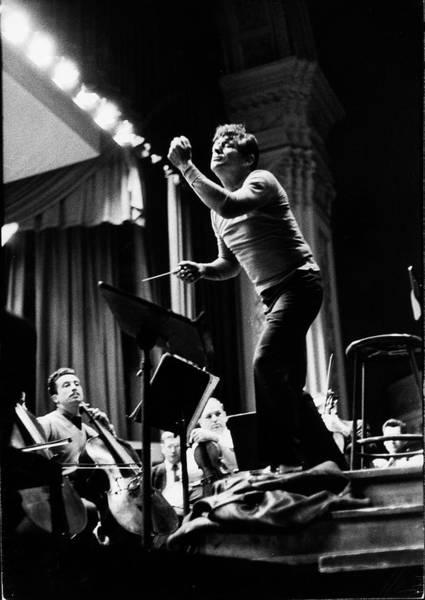 Music Hall Photograph - Conductor Leonard Bernstein Rehearsing by Alfred Eisenstaedt