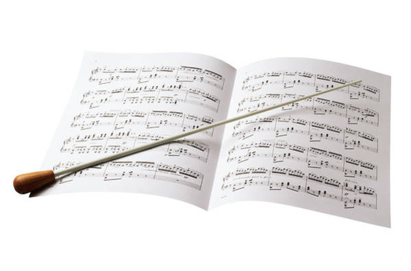 Sheet Music Photograph - Conductors Baton And Sheet Music by Siede Preis
