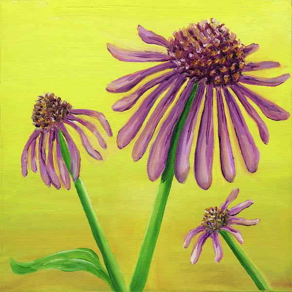 Coneflower Painting - Coneflower On Yellow by Laura Dozor