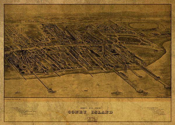 Island Mixed Media - Coney Island New York Vintage City Street Map 1906 by Design Turnpike