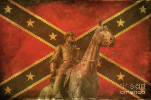 Wall Art - Digital Art - Confederate General Lee And Flag by Randy Steele