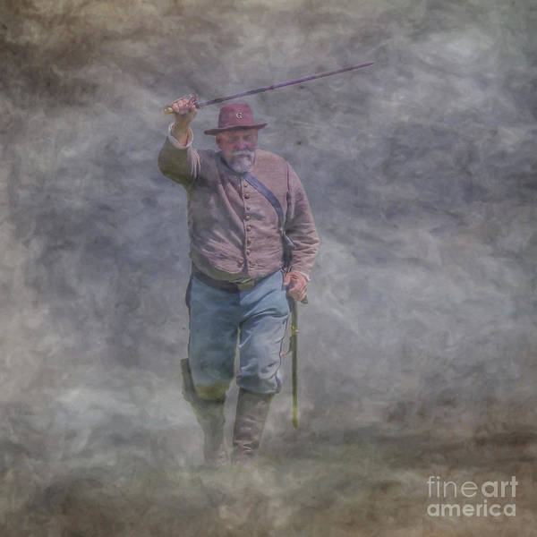 Wall Art - Digital Art - Confederate Officer Charge  by Randy Steele