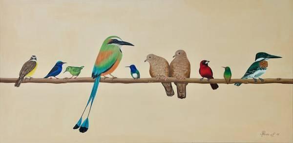 Flycatcher Painting - Conference Of The Birds by Renee Van Leeuwen