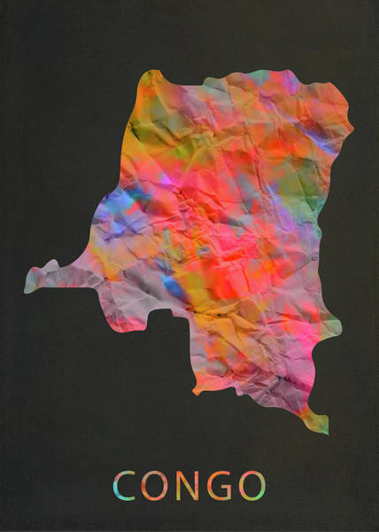 Wall Art - Mixed Media - Congo Tie Dye Colorful Country Map by Design Turnpike