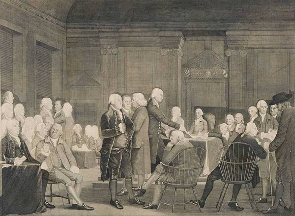 Wall Art - Painting - Congress Voting Independence By Robert Edge Pine, 1742 - 1788 by Celestial Images