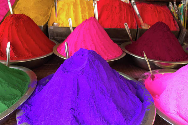 Karnataka Photograph - Conical Piles Of Kumkum Coloured Powder by Heather Elton / Design Pics