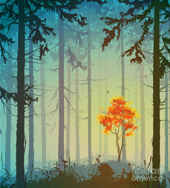 Wall Art - Digital Art - Coniferous Forest With Autumn Tree And by Eva mask