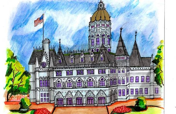 Wall Art - Drawing - Conn State House by Paul Meinerth