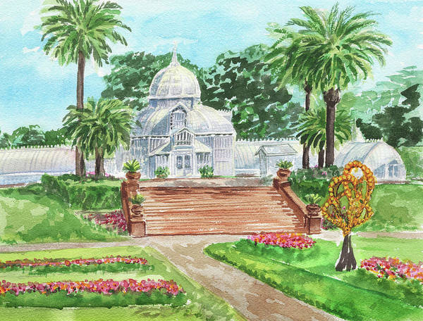 Wall Art - Painting - Conservatory Of Flowers Golden Gate Park Watercolor  by Irina Sztukowski