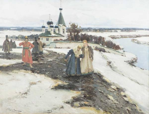 Russian Orthodox Church Painting - Constantin Aleksandrovich Westchiloff  1877-1945  Orthodox Church And People by Celestial Images
