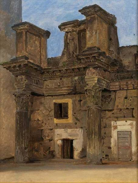Wall Art - Painting - Constantin Hansen, The Temple Of Minerva At The Forum Nervae, Circa 1840 by Celestial Images