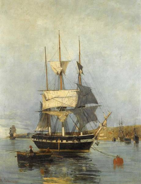 Wall Art - Painting - Constantinos Volanakis 1837-1907   Greek Ship by Celestial Images