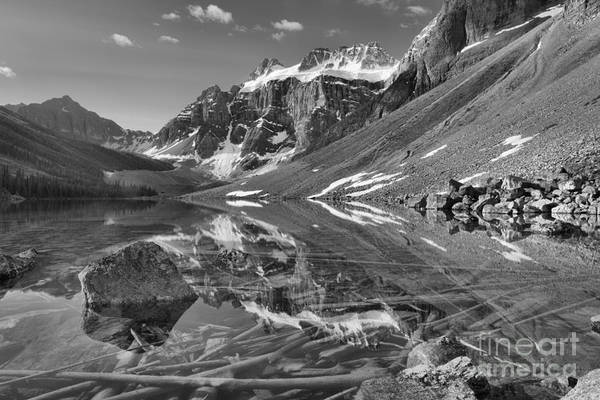 Photograph - Constellation Lakes Summer Refelctions Black And White by Adam Jewell