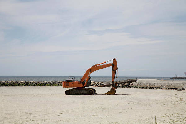 Wall Art - Photograph - Construction Excavator On Beach by Holly Harris