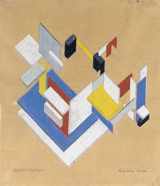 Wall Art - Painting - Construction In Space Time II , Theo Van Doesburg by Celestial Images