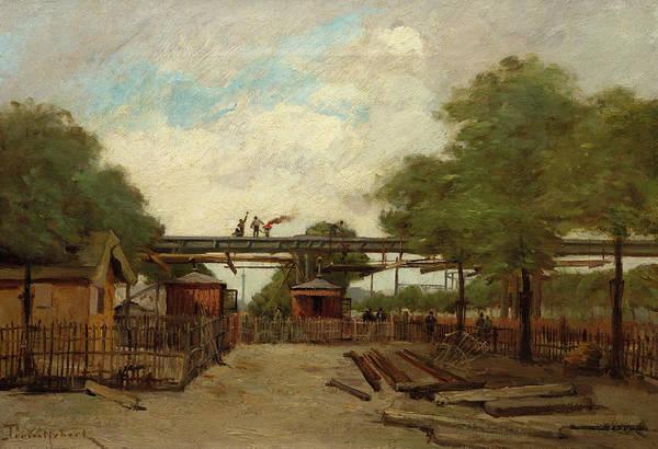 Desire Painting - Construction Of An Elevated Railway Bridge Over The Cours De Vincennes, 1888 by Paul Desire Trouillebert