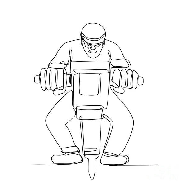 Wall Art - Digital Art - Construction Worker Jackhammer Continuous Line by Aloysius Patrimonio