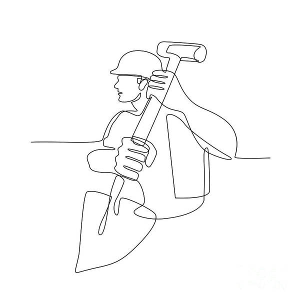 Wall Art - Digital Art - Construction Worker Spade Continuous Line by Aloysius Patrimonio