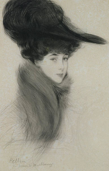 Scarf Drawing - Consuelo Vanderbilt by Paul Cesar Helleu