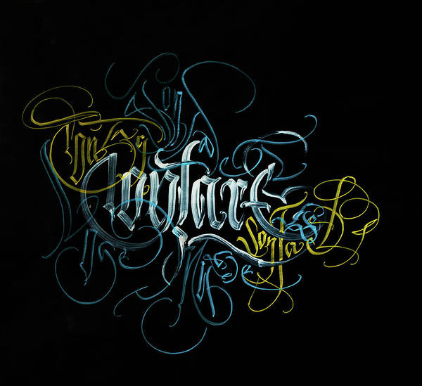 Drawing - Contact. Calligraphic Abstract by Dmitry Mandzyuk