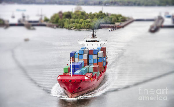 Wall Art - Photograph - Container Vessel On Kiel Canal, Germany by Ralf Gosch