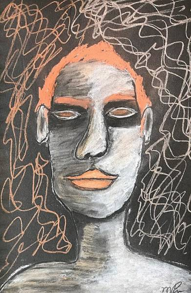 Drawing - Contemplating A Darkness by Mario MJ Perron