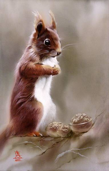 Painting - Contemplative Squirrel by Alina Oseeva