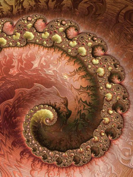 Wall Art - Digital Art - Contemporary Fractal Spiral Copper Gold Sienna by Matthias Hauser