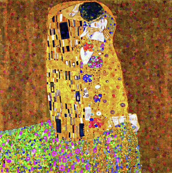 Mixed Media - Contemporary Kiss Dedication To Klimt by Isabella Howard