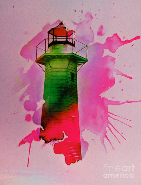 Transfer Mixed Media - Contemporary Lighthouse #2. by Trudee Hunter