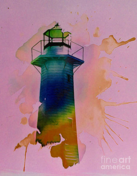 Transfer Mixed Media - Contemporary Lighthouse by Trudee Hunter