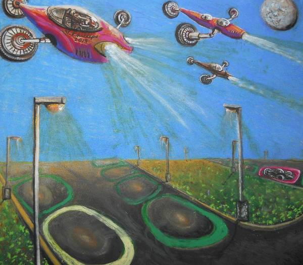 Space Ship Mixed Media - Content Moon Year 2063 by Scott Phillips