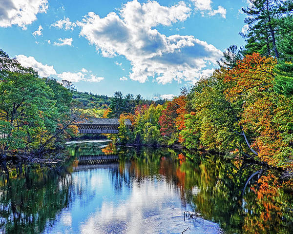 Henniker Wall Art - Photograph - Contoocook River In Henniker Nh Covered Bridge In The Fall by Toby McGuire