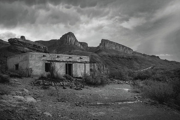 Photograph - Controbando Movie Set In Big Bend Bw by Harriet Feagin