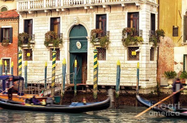 Photograph - Converging Gondolas In Venice by John Rizzuto