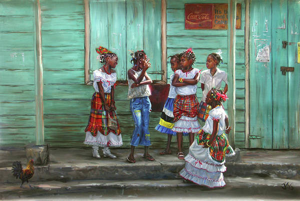 Saint Lucia Painting - Conversation by Jonathan Guy-Gladding JAG