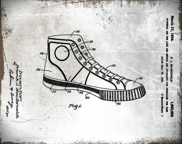 Photograph - Converse Allstar Patent 1934 Aged by Bill Cannon