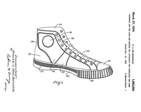 Photograph - Converse Allstar Patent 1934 by Bill Cannon