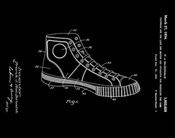 Wall Art - Photograph - Converse Allstar Patent 1934 Black by Bill Cannon