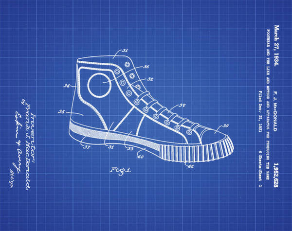 Wall Art - Photograph - Converse Allstar Patent 1934 Blueprint by Bill Cannon