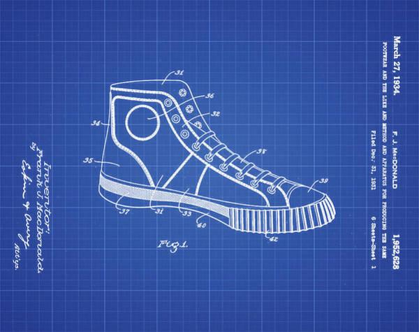 Photograph - Converse Allstar Patent 1934 Blueprint by Bill Cannon