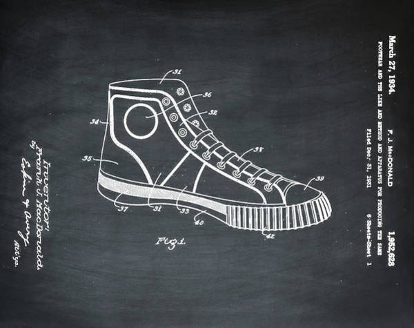 Wall Art - Photograph - Converse Allstar Patent 1934 Chalk by Bill Cannon