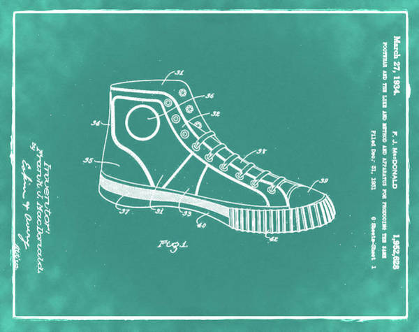 Wall Art - Photograph - Converse Allstar Patent 1934 Green by Bill Cannon